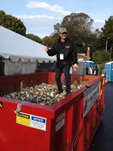 Curt Felix from MOP in a Frazier dumpster at Oysterfest 2012
